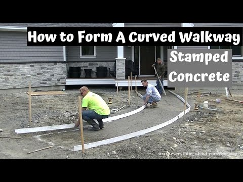 How To Form A Curved Concrete Sidewalk | Stamped Concrete Walkway Part 1