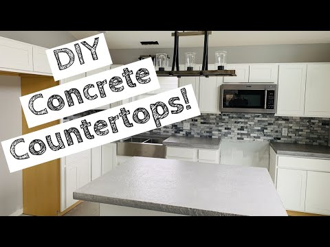 Concrete Countertops with Rock Edge, Slate Stamped Top | Easiest DIY System! | How to