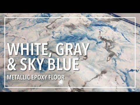 Snow White, Gray, Sky Blue Epoxy Floor - Concrete Floor Pros