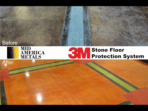3M Stone Floor Protection System On Stained Concrete