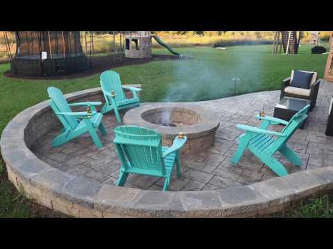 Stamped Concrete Patio with Firepit & Seating Wall