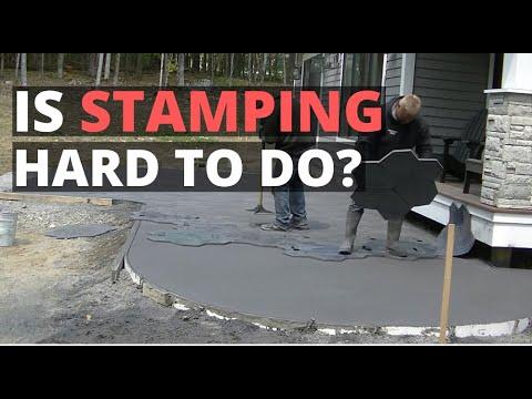 How To Stamp A Concrete Patio (Random Stone Backyard Patio Slab) - Concrete Floor Pros