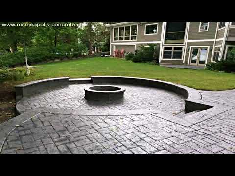 Stamped Concrete Patio Designs With Fire Pit (see description)
