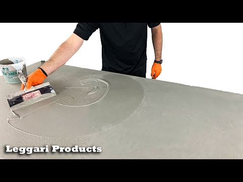 How To Make A Wood Table Look Like A Concrete Top Using An Easy DIY System | Concrete Countertop Kit