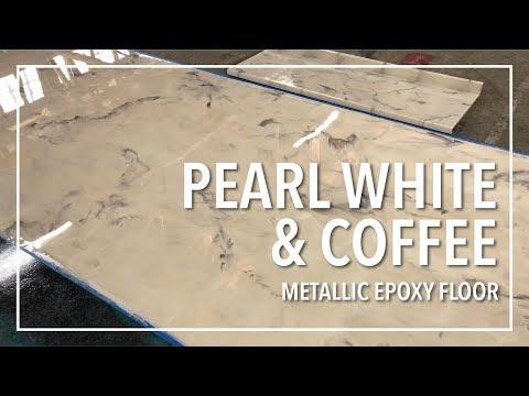 How Easy! Pearl White & Coffee Metallic Epoxy Floor